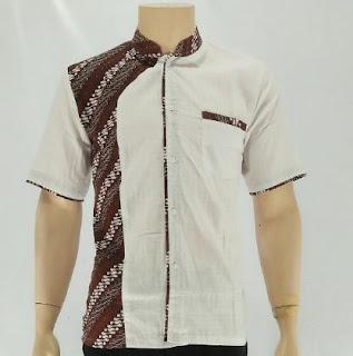 Kemeja batik pria kombinasi polos modis keren