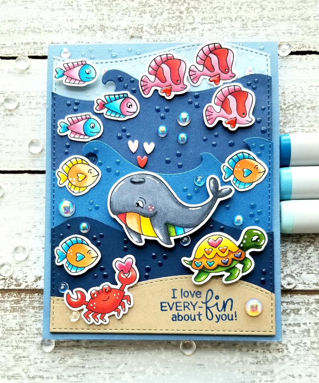 I Love Every-fin About You Card by February Guest Designer Lori U'ren | Tides of Love Stamp Set, Land Borders Die Set and Sea Borders Die Set by Newton's Nook Designs #newtonsnook #handmade