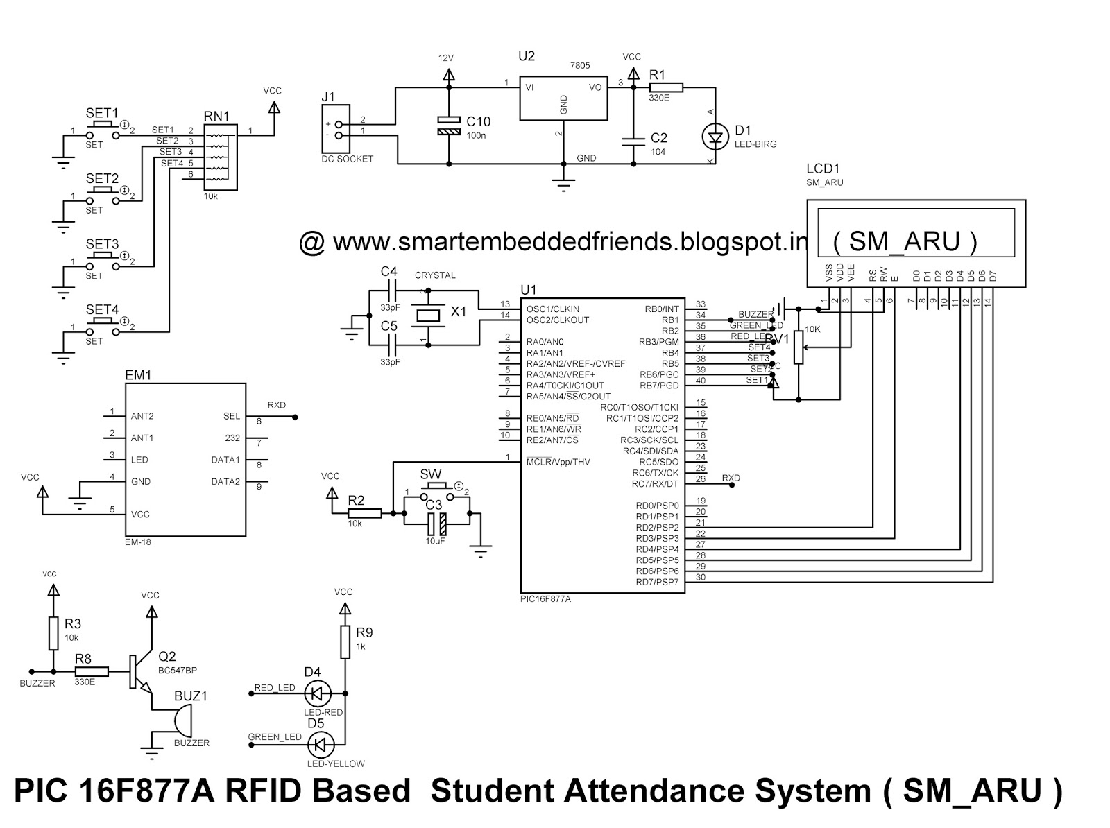 Rfid based attendance system using pic microcontroller smart pic 16f877a rfid student attendance system circuit diagram smaru ccuart Images