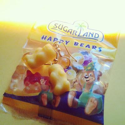 orecchini orsetti gommosi gialli in Fimo