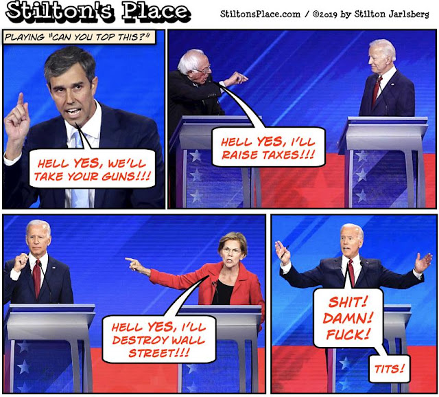 stilton's place, stilton, political, humor, conservative, cartoons, jokes, hope n' change, beto, guns, hell yes, king's speech, biden, democrats, debate