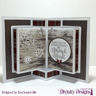 Stamp Set: True Light, Custom Dies: Book Fold Card with Layers, Pierced Rectangles, Rectangles, Ovals, Pierced Ovals, Deer Silhouette, Circles, Pierced Circles, Christmas Dove (snowflakes), Christmas Lights (Bow), Paper Collection: Rustic Christmas
