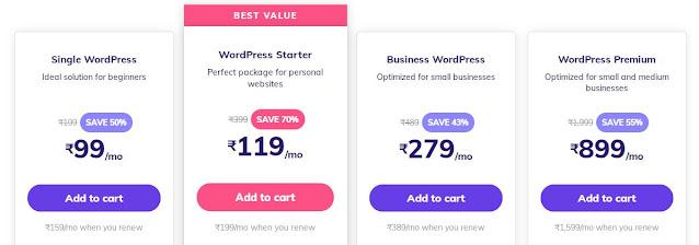 WordPress Hosting Prices in Hostinger