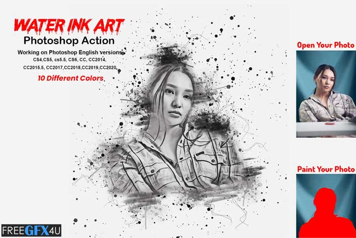 Water Ink Art Photoshop Action