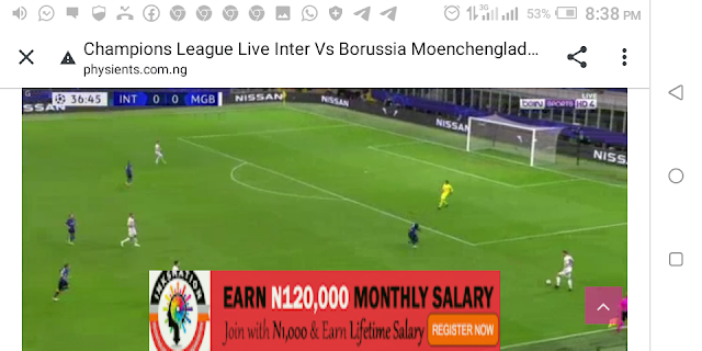 ⚽⚽⚽⚽ Champions League Inter-Milan Vs Borussia Moenchengladbach ⚽⚽⚽⚽