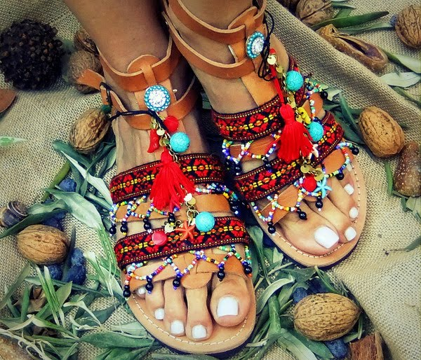 Handmade beaded sandals by Innovative Greek Shoes
