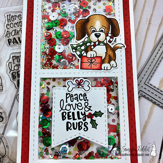 Deck the Halls with Inky Paws Week - Day 2 - Tina Herbeck | Shaker card with Christmas Puppies Stamp Set and Slimline Die Set by Newton's Nook Designs