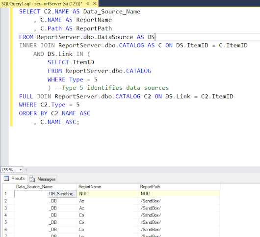 SQL Server Reporting Services, List out all the data sources with Report Name and Path
