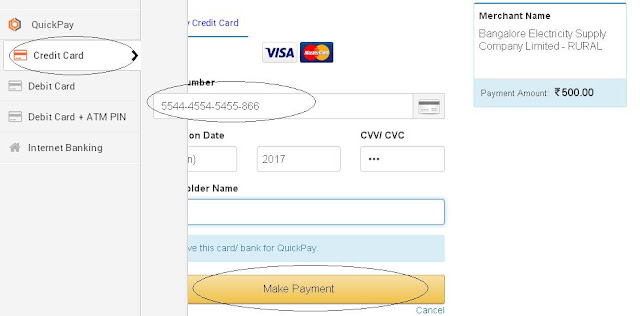 BESCOM Online Bill Payment through Credit Card