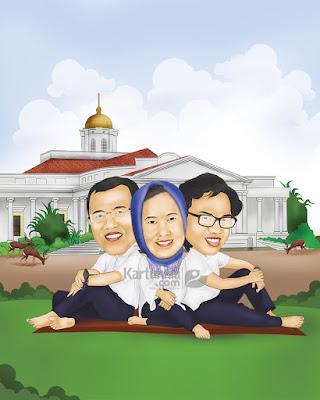 kartun keluarga bahagia background istana bogor