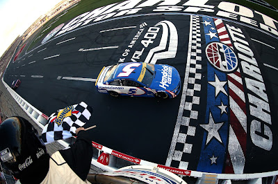 Kyle Larson, Driver of the #5 HendrickCars.com Chevrolet, takes the checkered. (#NASCAR Cup)