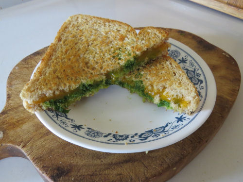 pesto and cheese sandwich