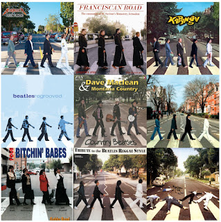 A mosaic of nine album cover parodies of Abbey Road.
