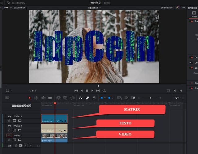 testo con matrix su video