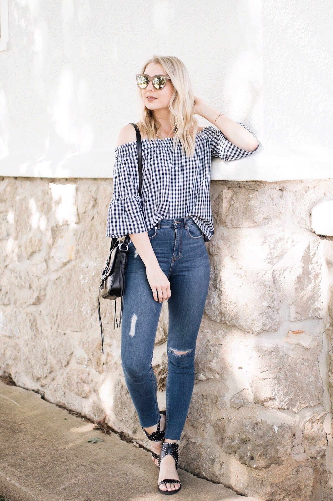 gingham top with skinny jeans