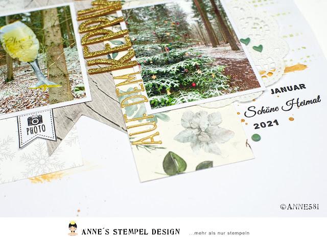 Detailaufnahme von meinem winterlichen Scrapbookinglayout wie ich die Papiere zugeschnitten habe und welche Textstempel ich von Annes Stempel-Design benutzt habe.