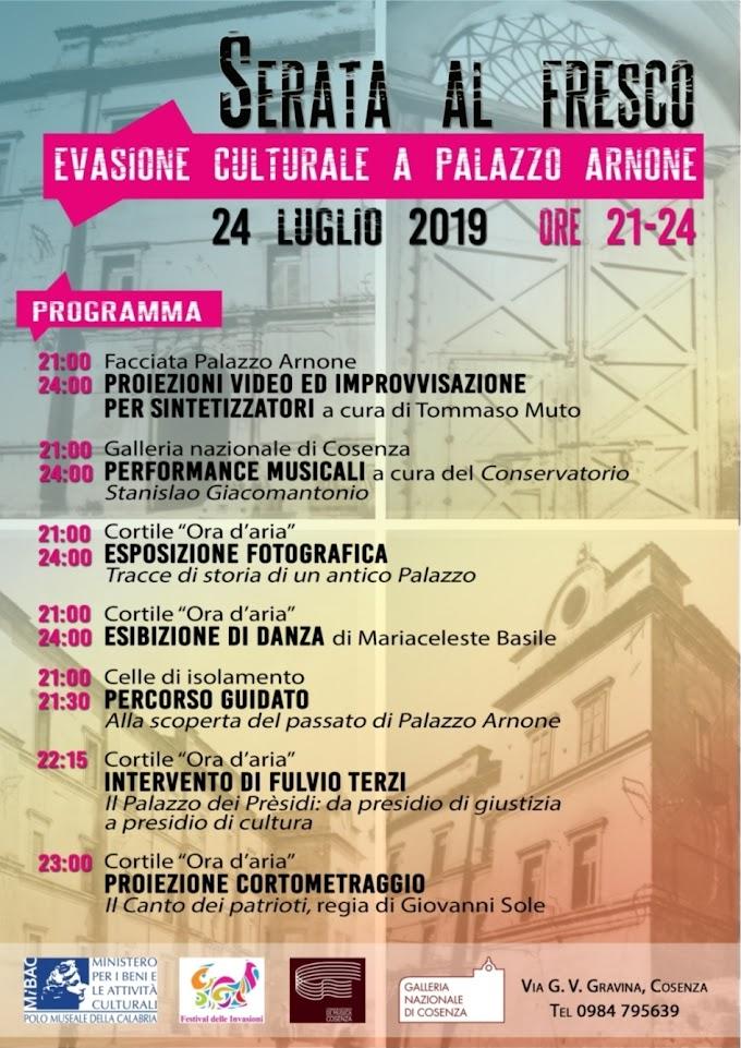 Cosenza: Serata al fresco Evasione culturale a Palazzo Arnone