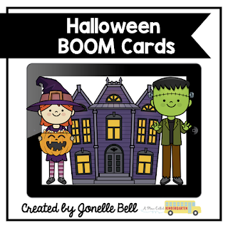 Halloween themed Kindergarten or Preschool digital Boom Cards that can be used for math or phonics instruction, centers or as assessments in person or remotely.