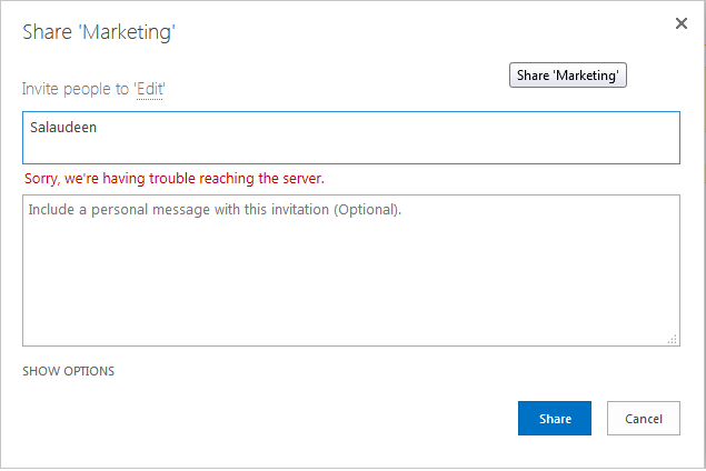 "SharePoint 2013 People Picker error ""Sorry, we're having trouble reaching the server"""