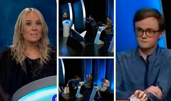 Sore loser! Contestant on 'Icelandic University Challenge' throws a strop and storms off set after rival team answers winning question