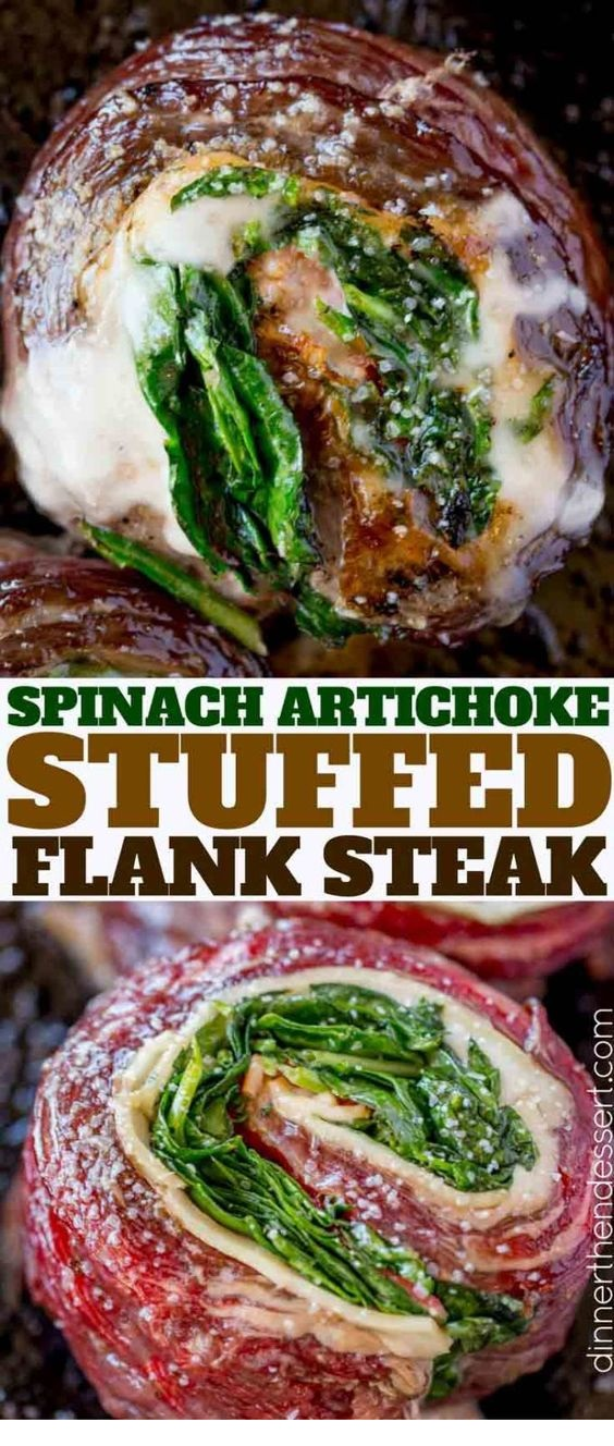 Spinach Artichoke Stuffed Flank Steak