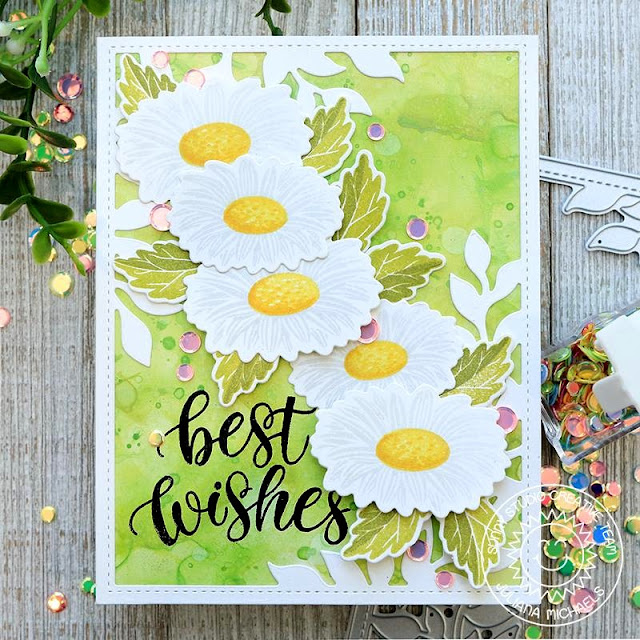 Sunny Studio Stamps: Cheerful Daisies Botanical Backdrop Dies Spring Themed Best Wishes Card by Juliana Michaels