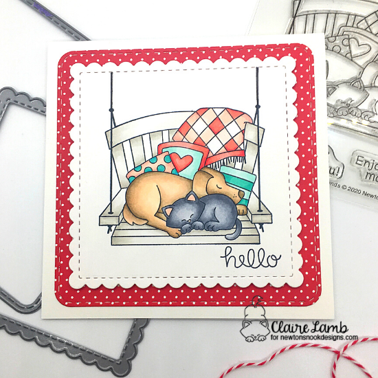 Hello by Claire features Porch Swing Friends and Frames Squared by Newton's Nook Designs; #newtonsnook, #cardmaking, #inkypaws