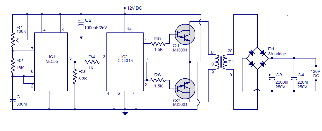 schematic wiring diagram simple circuit v to v dc dc converter simple circuit 12v to 120v dc dc converter