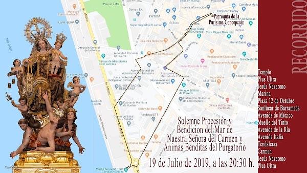 Horario e Itinerario de la Prcesión de Ntra. Sra. del Carmen de Huelva el 19 de Julio del 2019