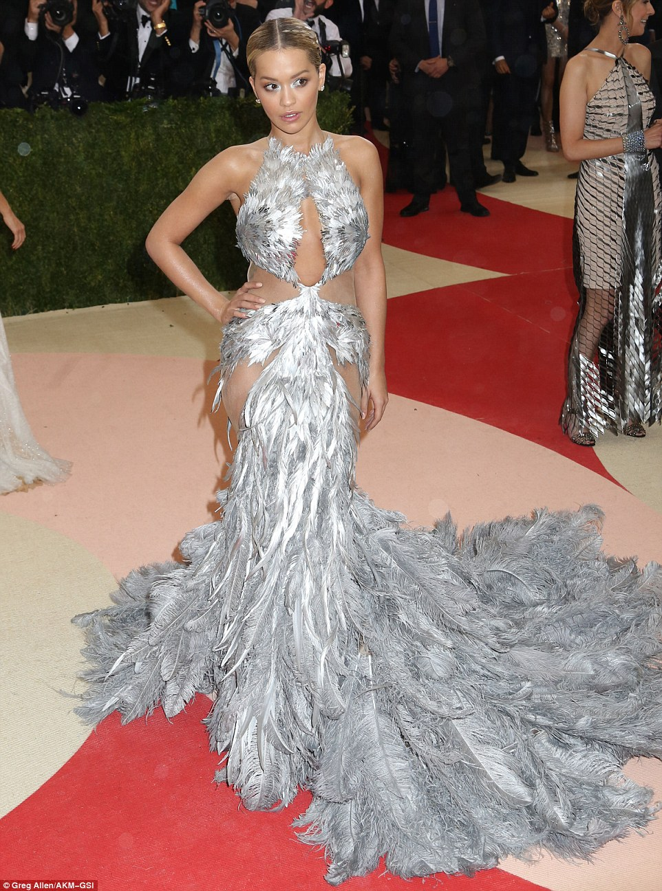 Rita Ora wears revealing feathered gown to the Met Gala 2016