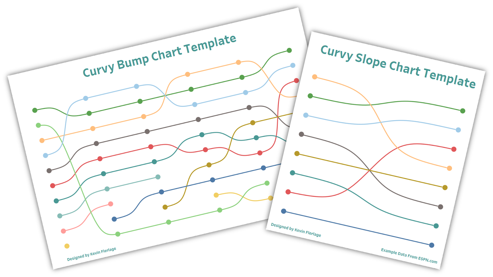 Curvy Bump Chart & Slope Chart Template
