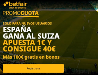 betfair supercuota España vs Suiza 10 octubre 2020