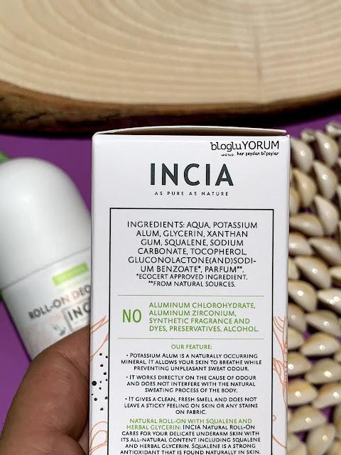 INCIA Kadınlar İçin Doğal Roll-On Deodorant içerik