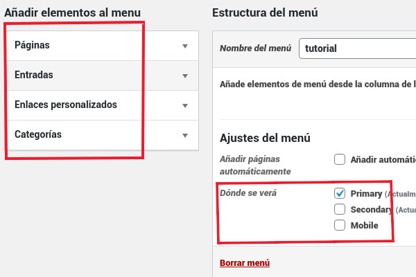Opciones disponibles para los menús de WordPress