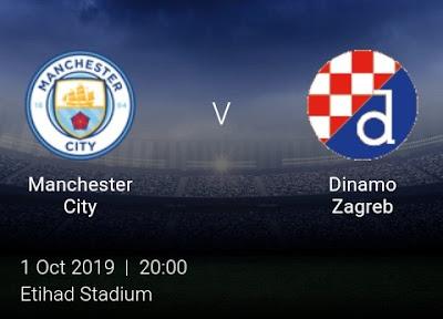 LIVE MATCH: Manchester City Vs Dinamo Zagreb UEFA Champions League 01/10/2019