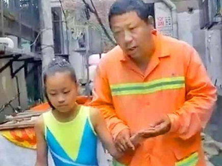 noodal man, chinese man eats noodals for his daughter