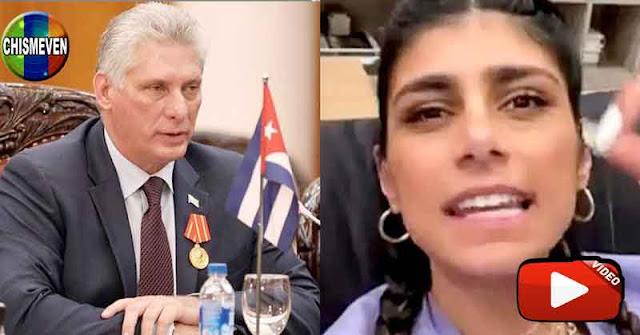 La actriz Mia Khalifa le da hasta con el tobo al dictador cubano Díaz Canel
