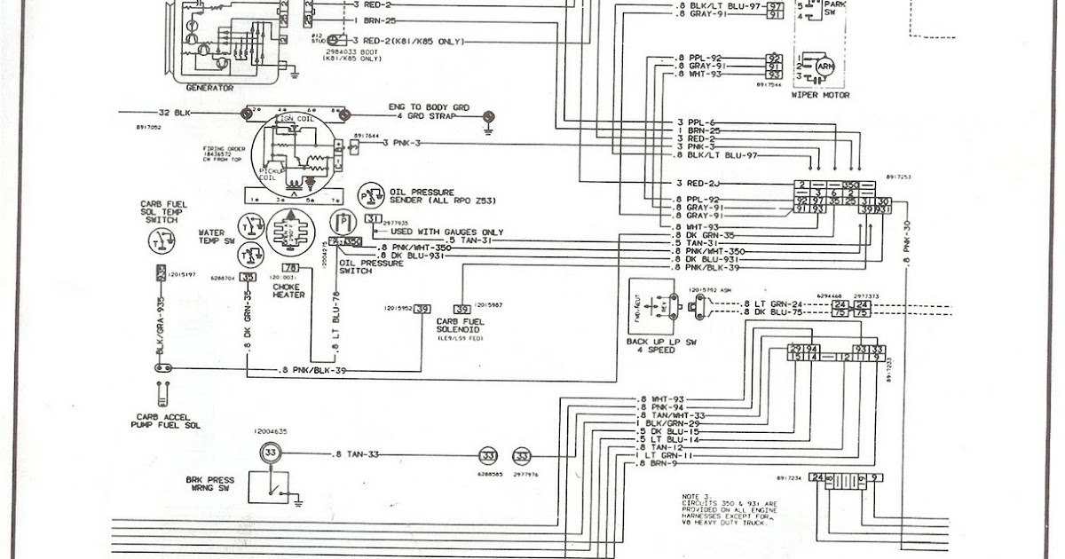 Free Auto Wiring Diagram: 19811987 Chevrolet V8 Truck Engine Compartment