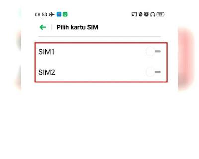 Memilih kartu SIM yang ingin di aktifkan laporan pengirimanya