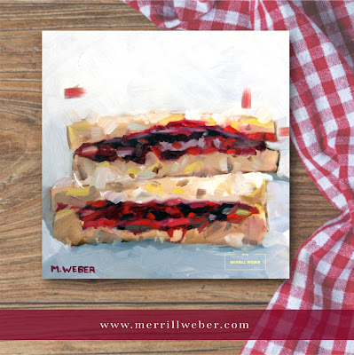 Peanut Butter and Jelly Sandwich oil painting by Merrill Weber