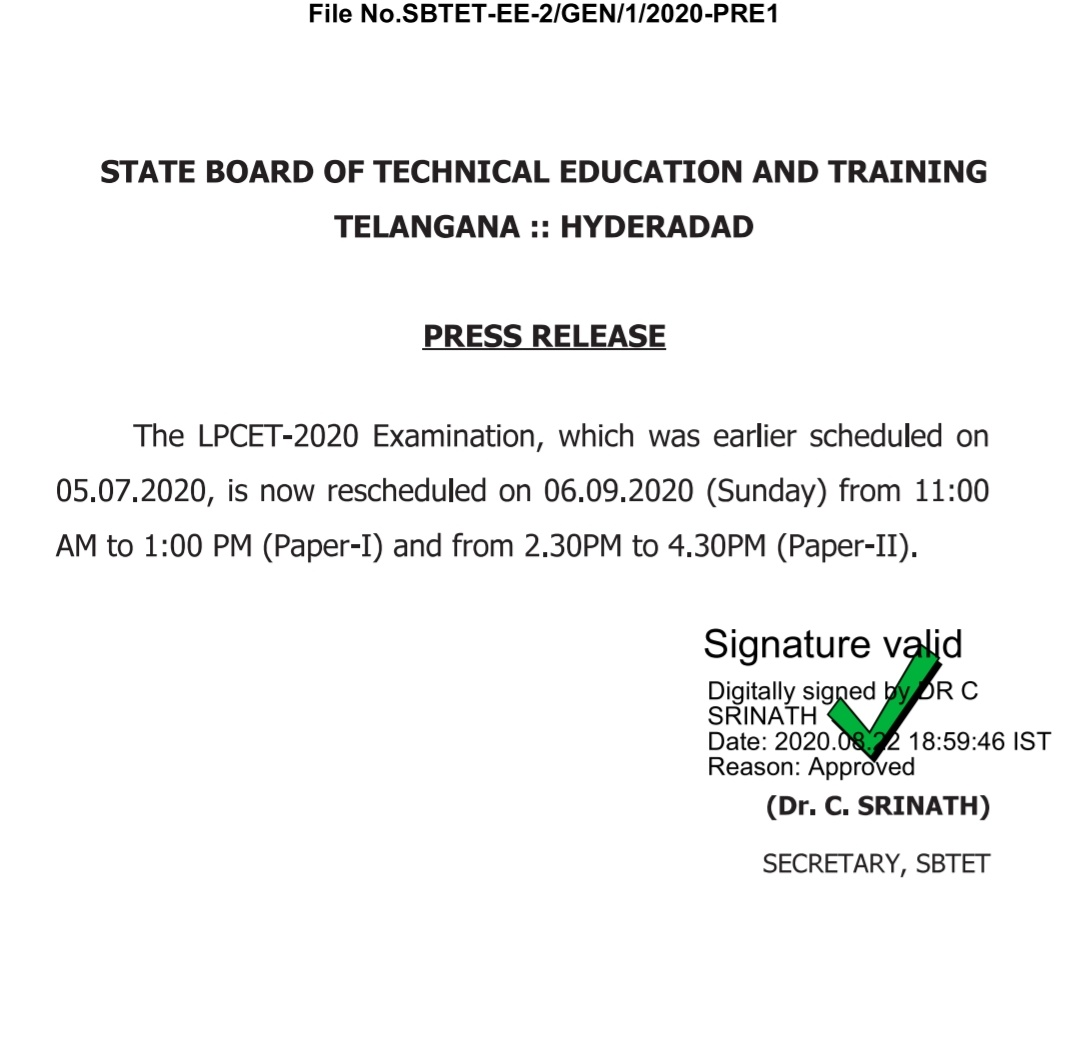 SBTET LPCET Is Now Rescheduled on 6th Sep 2020 Press Released
