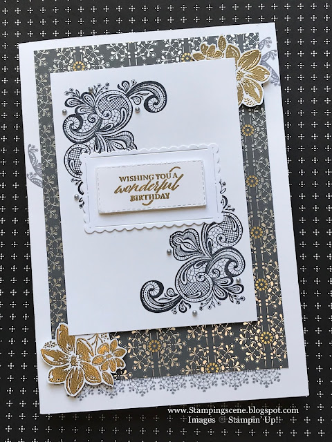 art deco style handmade card using Stampin Up Elegantly Said Suite with zoe tant