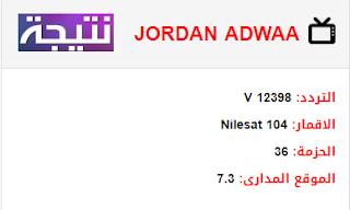تردد قناة اضواء الاردن JORDAN ADWAA الجديد 2018 على النايل سات