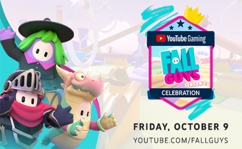 YOUTUBE GAMING HOSTS FALL GUYS CREATOR TOURNAMENT WITH THE DEBUT OF SEASON 2 AND FEATURES $100,000 CHARITY DONATION