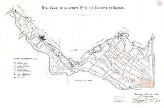 Mapa de la red de acequias del Canal de la Infanta (1908)