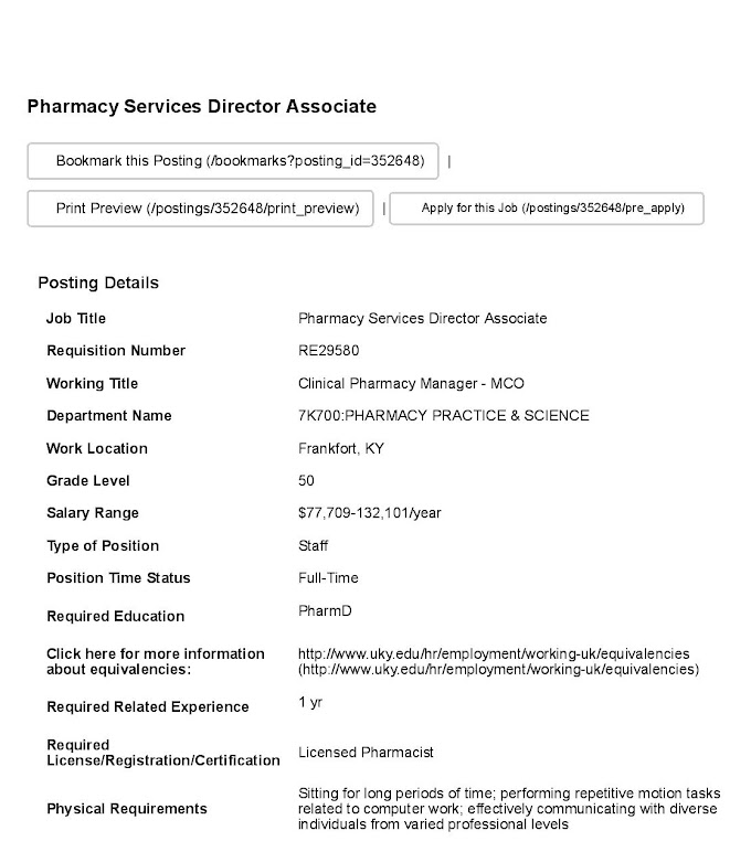 Jobs in UK for Pharmacy Services Director Associate