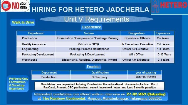 Hetero Labs | Walk-in for Freshers and Expd on 27th Feb 2021 at Jadcherla