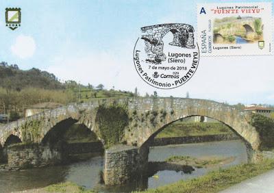 Tarjeta con el matasellos del Puente Viejo de Lugones