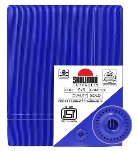 "Shalimar Cross Laminated Tarpaulin / Tarp / Tirpal / Tadpatri 120 GSM Size in Inches 102"" x 66"" ( Code 9 x 6 ) ( Blue )"