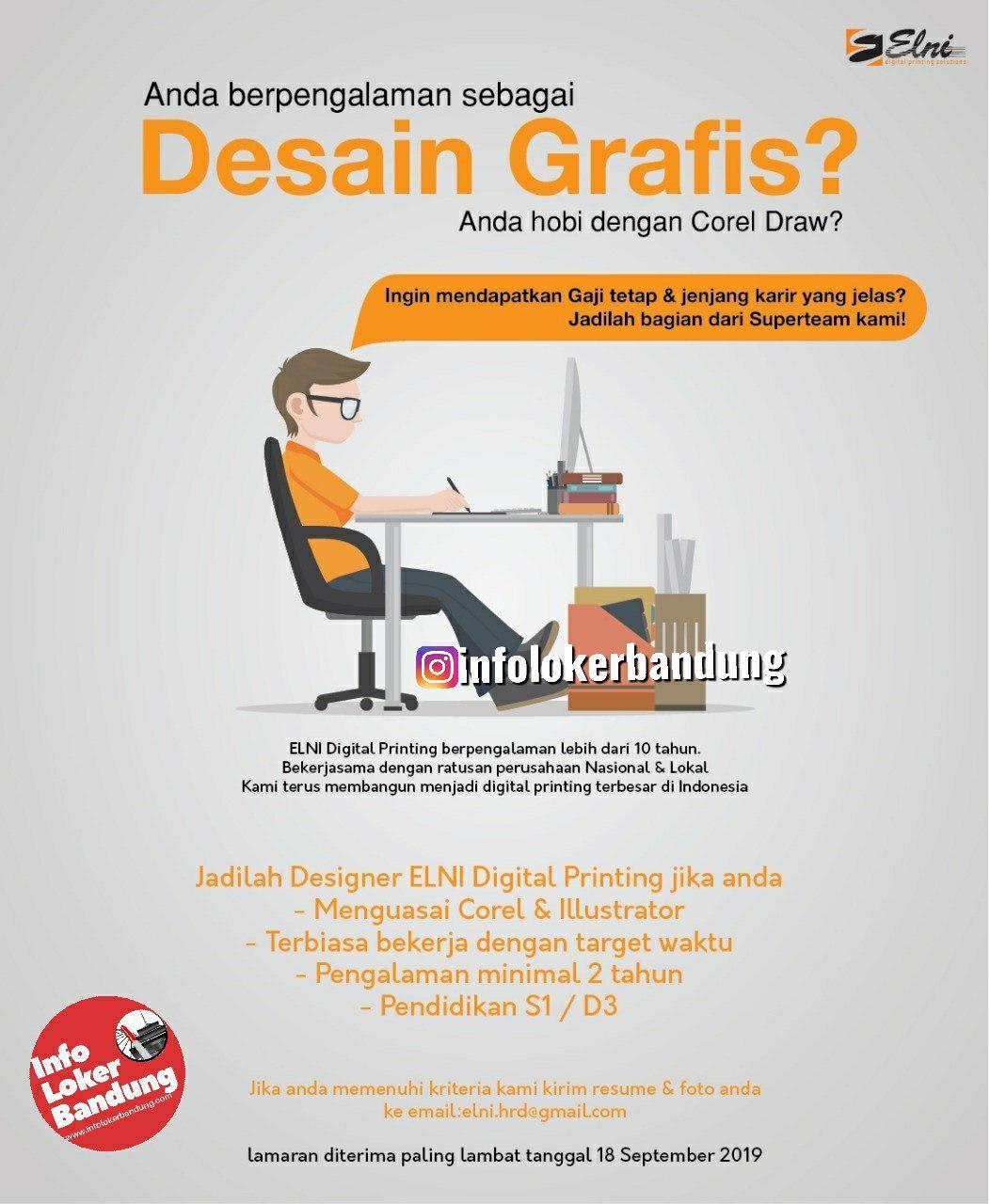 Lowongan Kerja PT. Elni Digital Printing Bandung September 2019